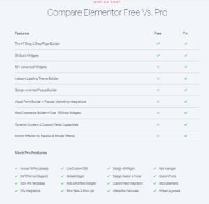 elementor free vs pro