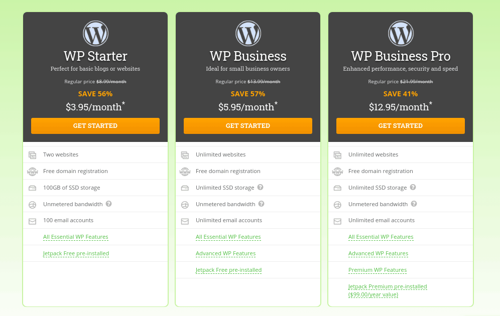 wordpress hosting plan hostpapa